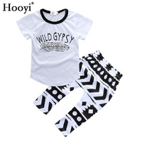 Hooyi White Baby Girls T-Shirt Pant Set Feather Wild Gypsy Summer Clothes Toddler Sport Suit Outfit 100% Cotton Short Sleeve Top