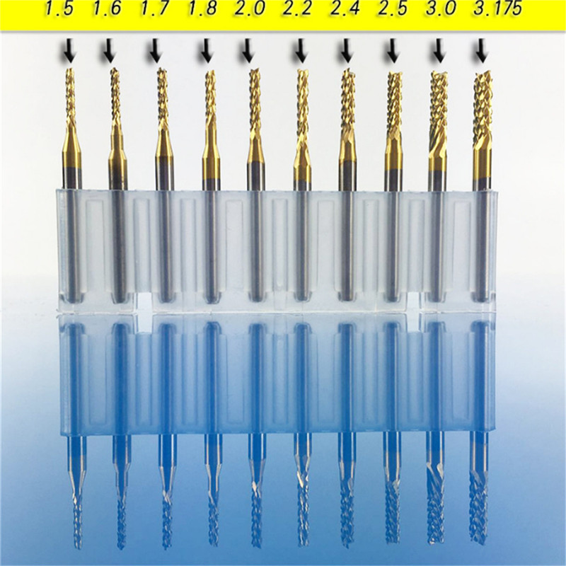 Newest 10 Titanium Coat Carbide 1.5mm End Mill Engraving Bits CNC Rotary Burrs Set corn milling cutter PCB router bits best 1pc 3 175mm tungsten steel titanium coat carbide end mill engraving bits cnc pcb rotary burrs milling cutter drill bit