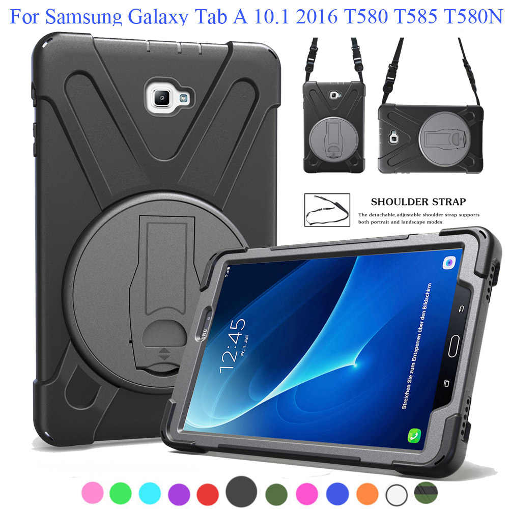 Case For Samsung Galaxy Tab A 10.1 2016 T580 T585 SM-T580 SM-T585, Safe Shockproof Heavy Duty Rotating Kickstand +Shoulder Strap