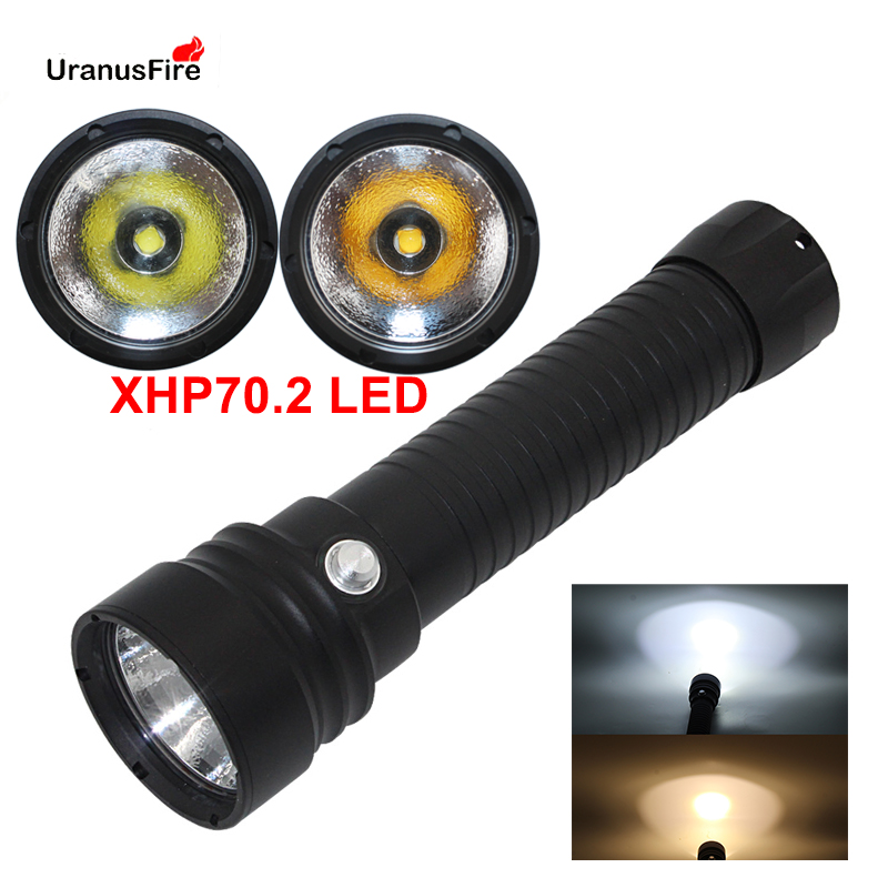 Scuba Diving Flashlight XHP70 2 LED dive torch light Underwater 100M NEW XHP70 Diving flashlgiht torch