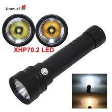 Linterna de submarinismo XHP70.2 LED para buceo, luz subacuática de 100M, linterna de buceo new32650, alimentada por 2*32650/26650
