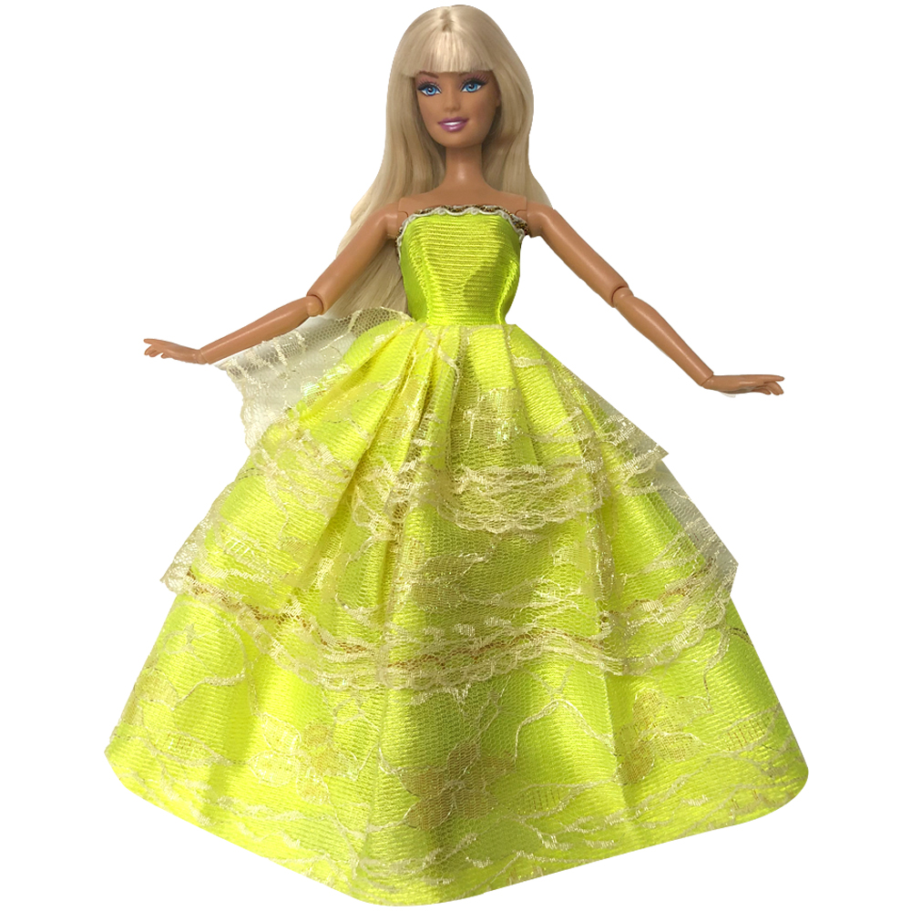 NK One Pcs Princess Wedding Dress  Yellow Noble Party Gown For Barbie Doll Fashion Design Outfit Best Gift For Girl' Doll 003A