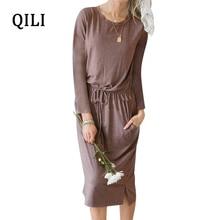 QILI Autumn Women Pencil Dress O-neck Long Sleeve Elastic Waist Knee-Length Casual Dresses Office Lady Soft Solid Dress Vestidos цена