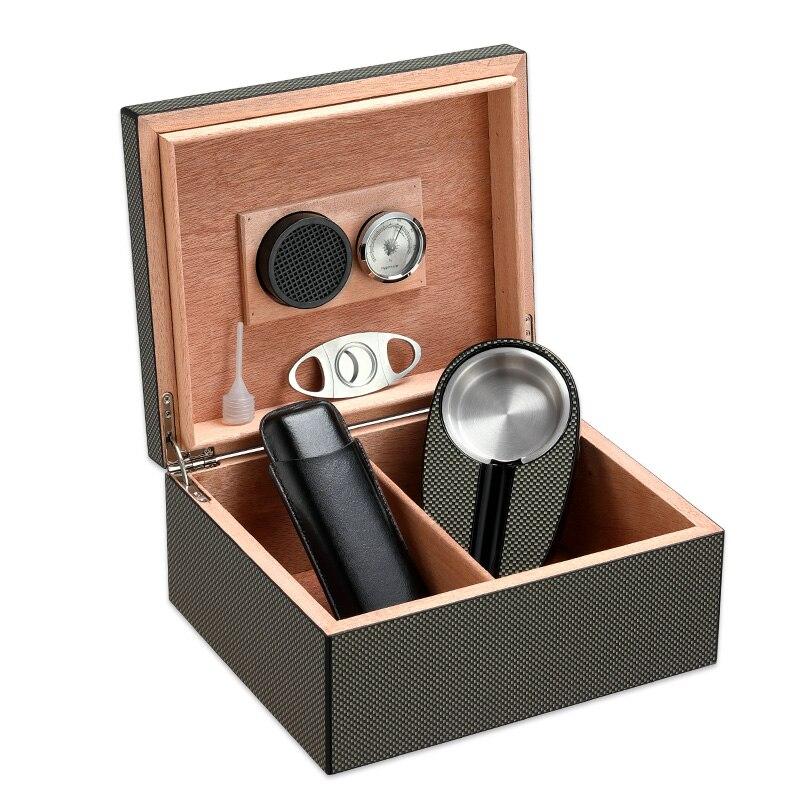 Caisse en bois d/'humidificateur de cigare de voyage de cèdre avec la boîte