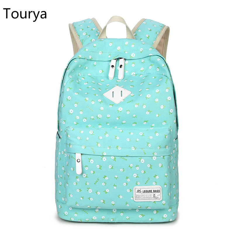Tourya Backpack Women Canvas Floral Printing Backpacks School Bags Bookbag for Teenagers Girls Laptop Rucksack Travel Daypack 2017 new women printing backpack canvas school bags for teenagers shoulder bag travel bagpack rucksack bolsas mochilas femininas