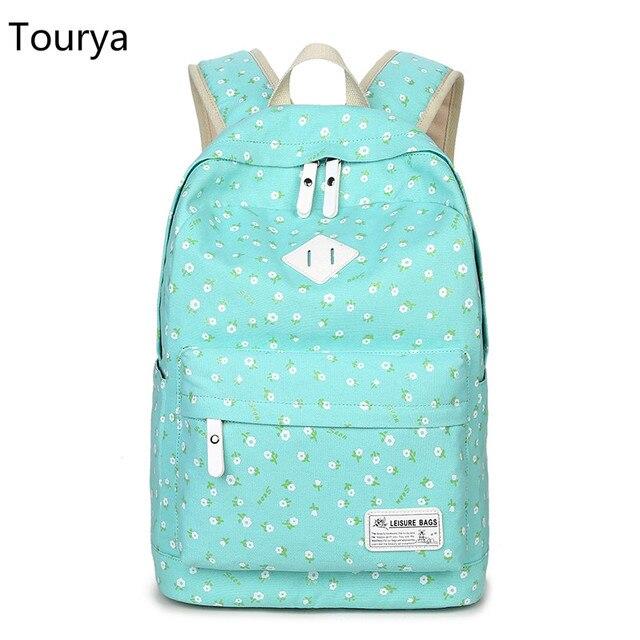 20b2ba4e4189 US $23.45 31% OFF|Tourya Backpack Women Canvas Floral Printing Backpacks  School Bags Bookbag for Teenagers Girls Laptop Rucksack Travel Daypack-in  ...