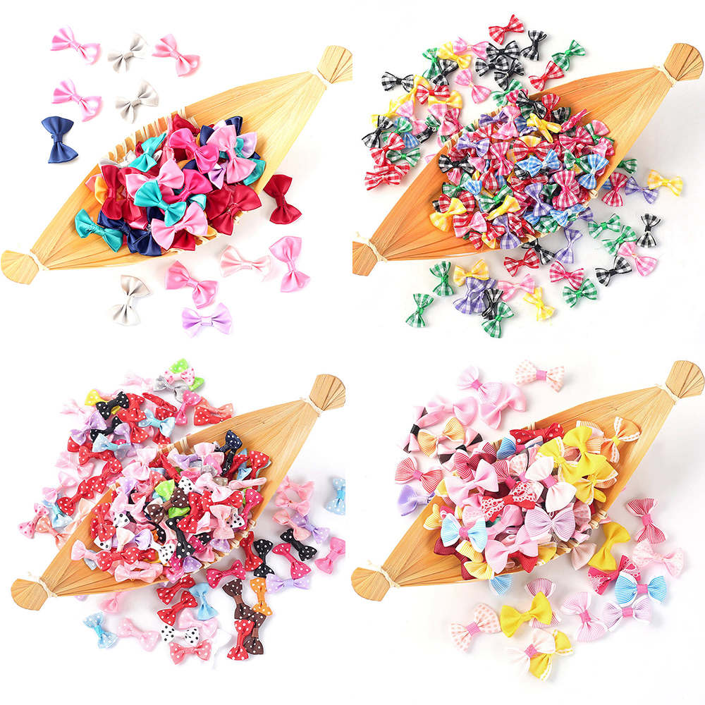 50Pcs Mix Color Grosgrain Ribbon Bow-knot DIY Handmade Gift Bow Girl Hairpin Clothes Decoration Accessories Sewing Supplies