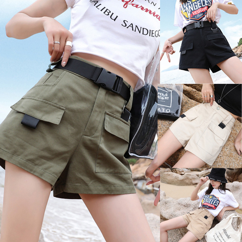 Women's Shorts Summer Tooling Shorts Overalls Shorts W/Belt Breathable Cargo High Waist Pocket Shorts Cool Girl 2019 New S-3XL
