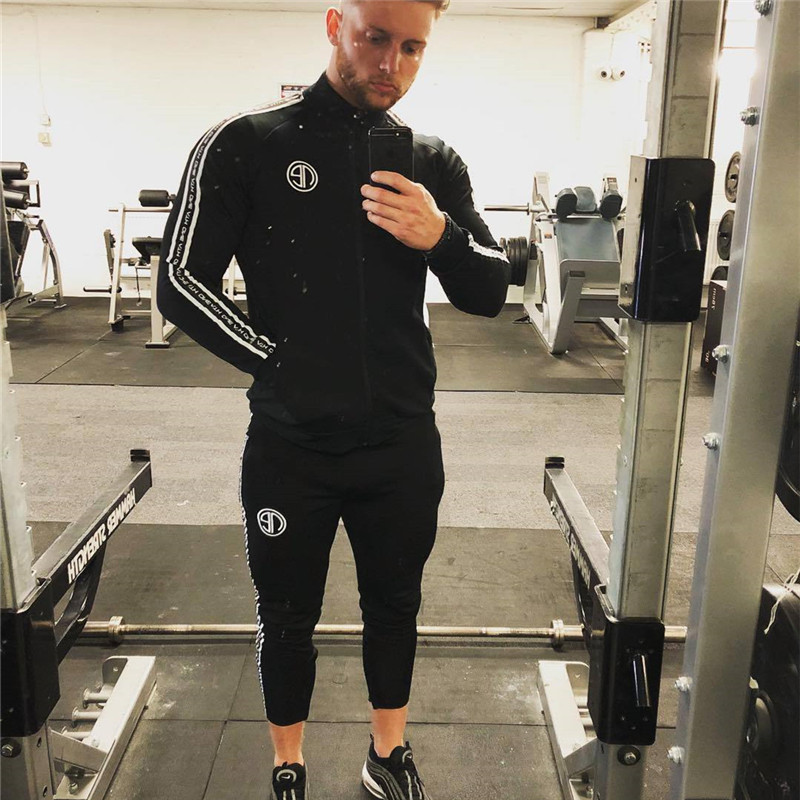 2019 Sport Suit Men Bodybuilding Jacket Pants Sports Suits Basketball Tights Clothes Gym Fitness Running Set Men Tracksuits 3XL