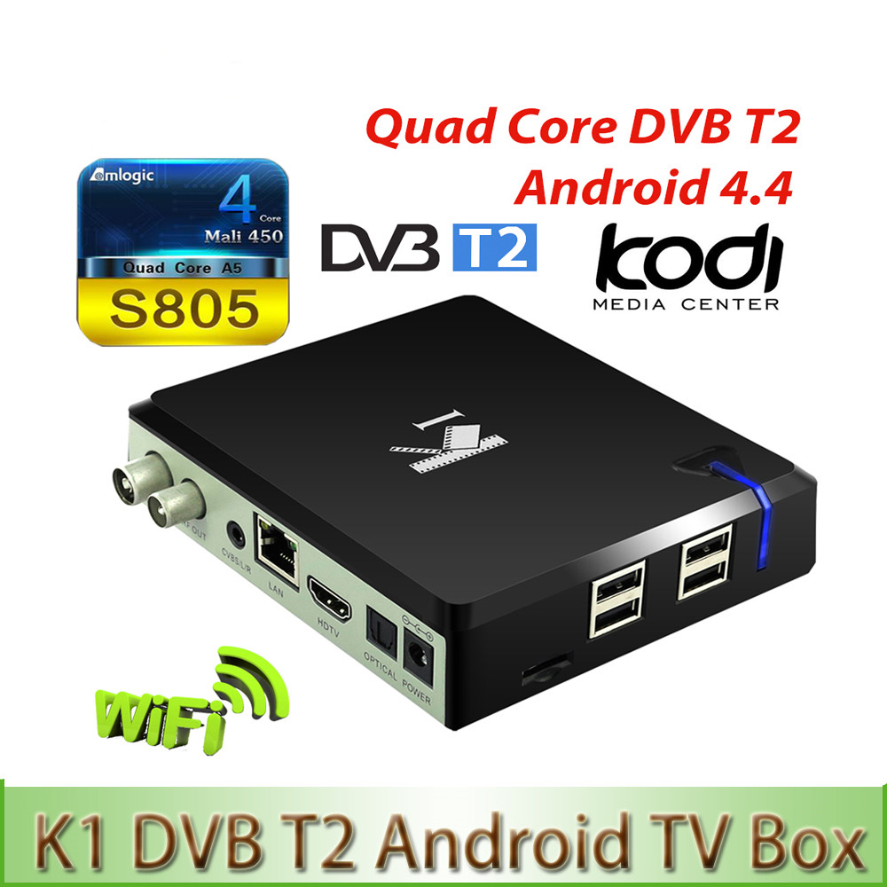 K1 T2 Amlogic S805 Quad core 64-bit Support DVB-T2 1G/8G Support 4K Android 4.4 TV Box 2.4G Wifi Media Player PK Freesat V7 k1 dvb s2 android 4 4 2 amlogic s805 quad core tv box