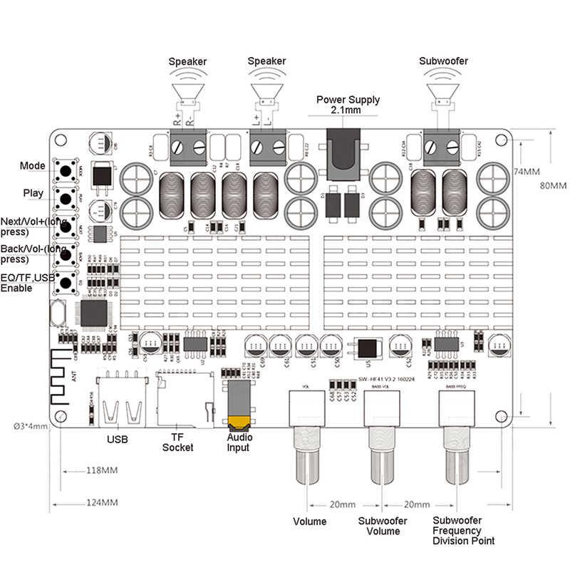 DC 12V 24V TPA3116 50W + 50W 100W Bluetooth USB TF decodificador 2.1 channel power เครื่องขยายเสียงมินิสนับสนุน MP3 โมดูล