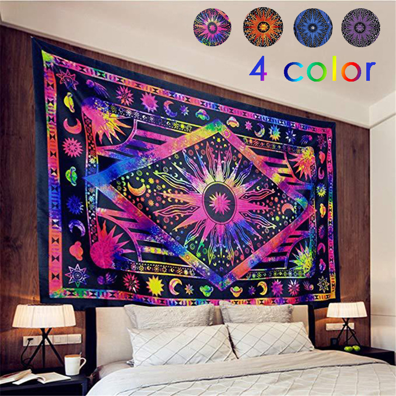 Mandala Psychedelic Celestial Indian Sun Totem Bohemian Tapestry Wall Hanging Colorful Wall Tapestry Beach Cover Up Yoga Mat