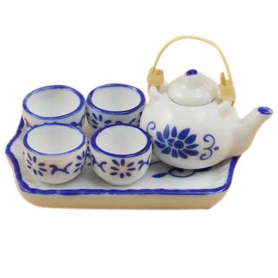Dollhouse Miniature Porcelain White and Blue Kung Fu Tea Set (Color: White)