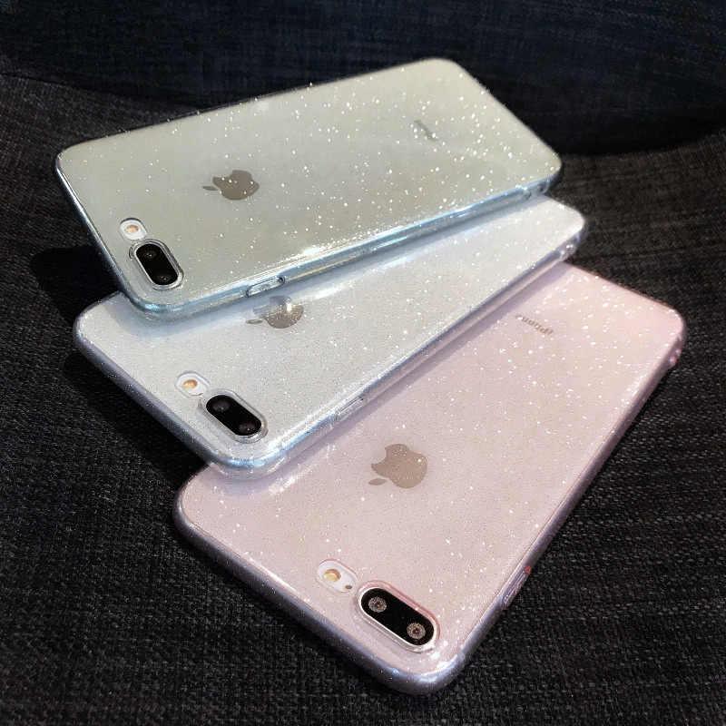 Блестящий Прозрачный Мягкий ТПУ силиконовый чехол-накладка для iPhone 7 8 Plus простые Чехлы для 6 6s X XR XS MAX 11 Pro Max