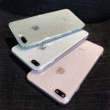 Brokat świecący przezroczysty miękki TPU silikonowy skrzynki pokrywa skóra dla iPhone 7 8 Plus zwykły przypadki dla 6 6s X XR XS MAX 11 Pro Max tanie tanio Crispy Fish Klejnotami Aneks Skrzynki Glitter Sparkly Transparent Soft TPU Odporna na brud Anti-knock Apple iphone ów