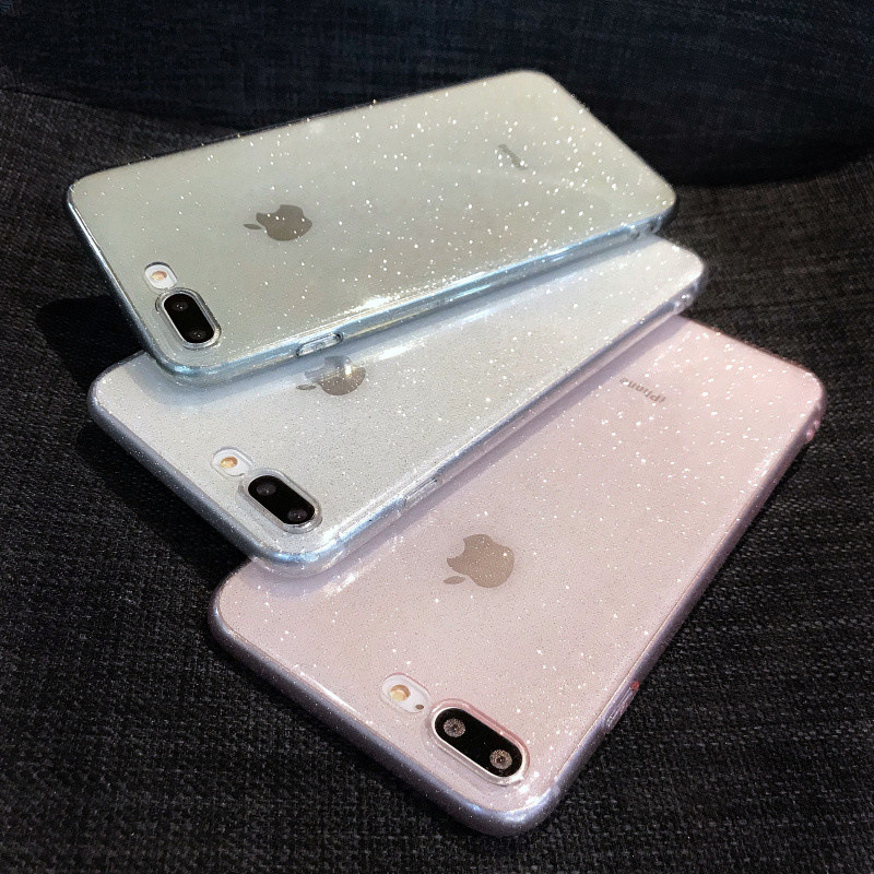 Glitter Sparkly Transparent Soft TPU Silicone Case Cover Skin For iPhone 7 8 Plus Plain Cases Untuk 6 6s X XR XS MAX 11 Pro Max