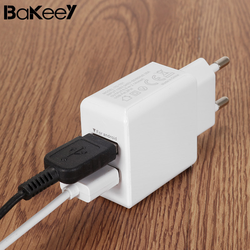 Bakeey 2.1A 2Ports EU Plug Wall phone Fast Charging Adapter Travel Wall USB Charger for-iPhone X 8/8plus for Samsung S8/S9