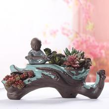 Young monk who plays the zither Originality ceramics Succulent plants Flowerpot