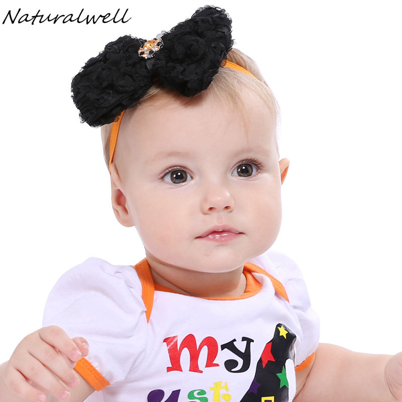 Naturalwell Halloween Baby Headband Toddler Girls Hair Bows Halloween Baby Photo Prop Newborn Infant Bow Headbands HB597