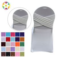 5PCS Universal Lycra Chair Cover Various Colour Two Cross Stretch Spandex Swag Back Chair Covers For Wedding Party Decoration