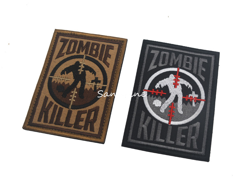 1Pcs Targeted Killer Zombie Tactical Morale Patches Army Embroidery Patches