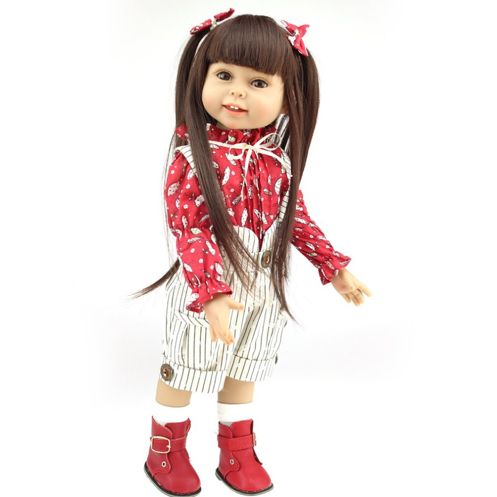 NPK 45CM American Girl Doll Full Body Soft Silicone Reborn Dolls Realistic Smile Reborn Baby Doll Toys For Kids Birthday Gift [mmmaww] christmas costume clothes for 18 45cm american girl doll santa sets with hat for alexander doll baby girl gift toy