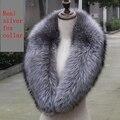 100 см подлинная silver fox воротник взрослых женщин натуральный мех шарф серого природного мягкий плюш silver fox воротник оптовая