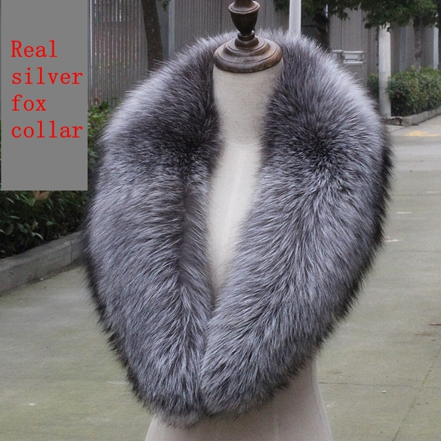 100cm genuine silver fox collar adult women real fur scarf gray natural soft plush silver fox collar wholesale