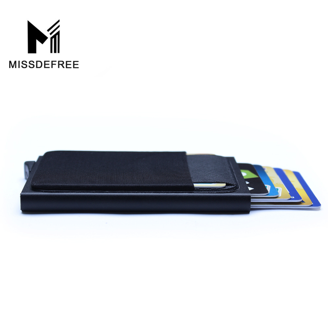 Aluminum Wallet With Back Pocket ID Card Holder RFID Blocking Mini Slim Metal Wallet Automatic Pop up Credit Card Coin Purse 4