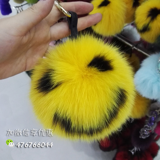 15CM Big Fluffy Bag Bugs Pom Pom Keychains Handmade Smiley Face Real Fox Fur Ball Key chain Bag Charm Monster Pompoms F111