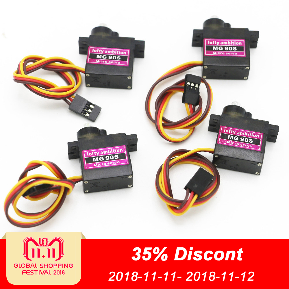 4pcs/lot lofty ambition MG90S 9g Metal Gear Upgraded SG90 Digital Micro Servos for Smart Vehicle Helicopter Boart Car