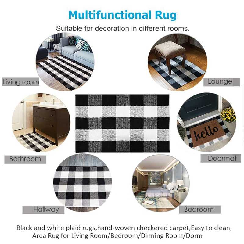 Lber Cotton Buffalo Plaid Rugs Buffalo Check Rug 23 6inch X35 4inch Checkered Outdoor Rug Outdoor Plaid Doormat For Kitchen Ba