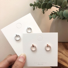 2019 Hot Sale Full Rhinestone Round Stud Earrings For Girl Temperature Simple Style Circle Pendientes Fashion Boucle D oreille