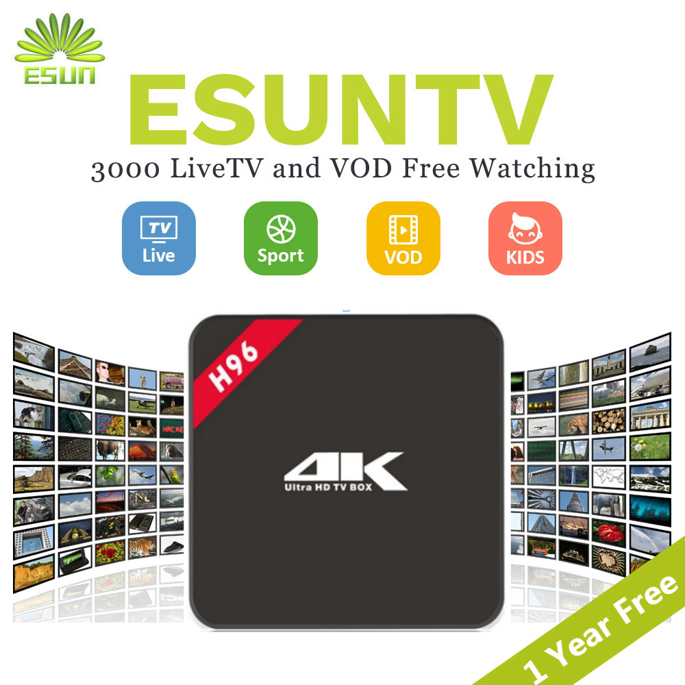 ESUNTV H96 4K With 1 Year Europe IPTV Arabic Spain UK French Germany Italy Netherland Sweden Portugal EX-YU xxx US IPTV BOX 2017 new arrival esuntv free iptv android tv box 2 16g europe sweden french germany italy xxx 4000 scandinavian channels