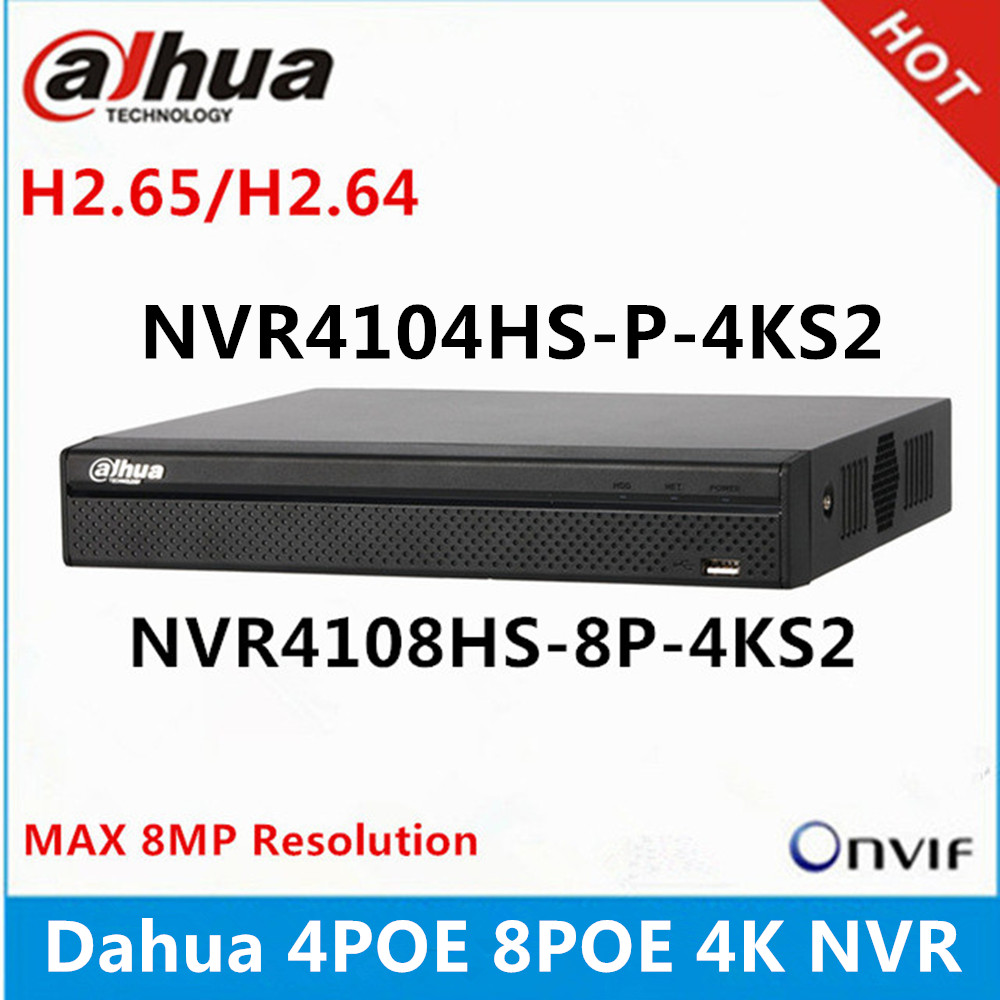Dahua NVR4104HS P 4KS2 4CH with 4 POE NVR4108HS 8P 4KS2 8ch with 8PoE ports Max 8MP Resolution 4K H.265 Network Video Recorder-in Surveillance Video Recorder from Security & Protection