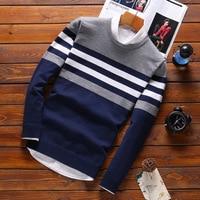 Модные мужские свитера с вышивкой, мужской вязаный свитер, теплая Лоскутная Одежда с круглым воротником, хлопковые повседневные шерстяные ...