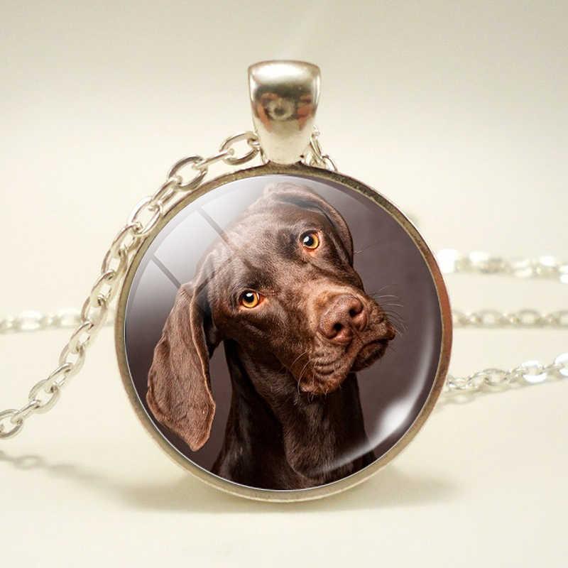 ファッション時間宝石ネックレスペンダントダルメシアンネックレス犬のアクセサリーガラスドームアート写真のチェーンネックレス
