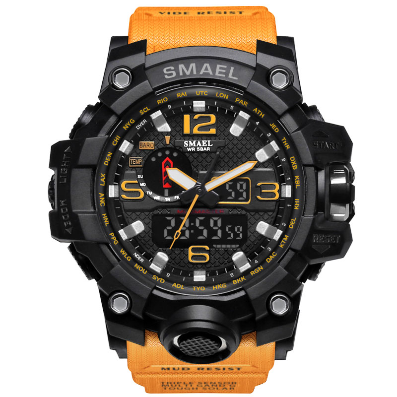2017 Orange Young Men Sport Reloj Hombre Man Watch LED S SHOCK Quartz Elecrton Watch Luxury
