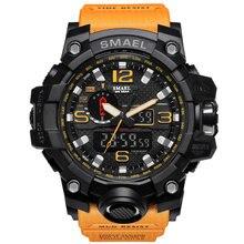 2017 Orange Jeunes Hommes Sport Reloj Hombre Homme Montre LED S-SHOCK Quartz Elecrton Montre De Luxe Cool Style Double Affichage SMAEL 1545