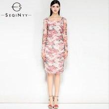 Seqinyy элегантное платье с розовым цветочным принтом Новинка