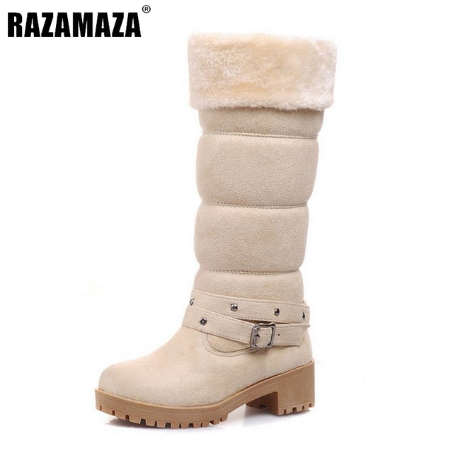 Women Square Heel Mid-Calf Winter Fur Boots