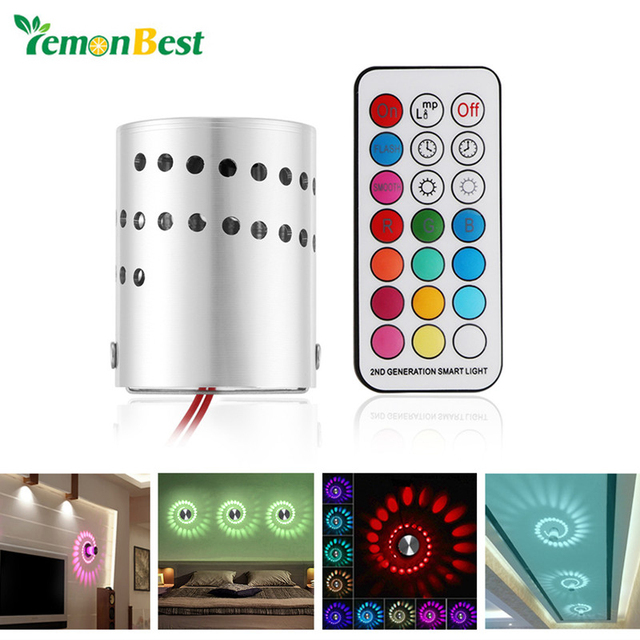 Modern Interior Christmas Decoration Wall Lamp Aluminum Hollow Cylinder RGB 3W LED Wall Light With Remote Control AC 85-265V