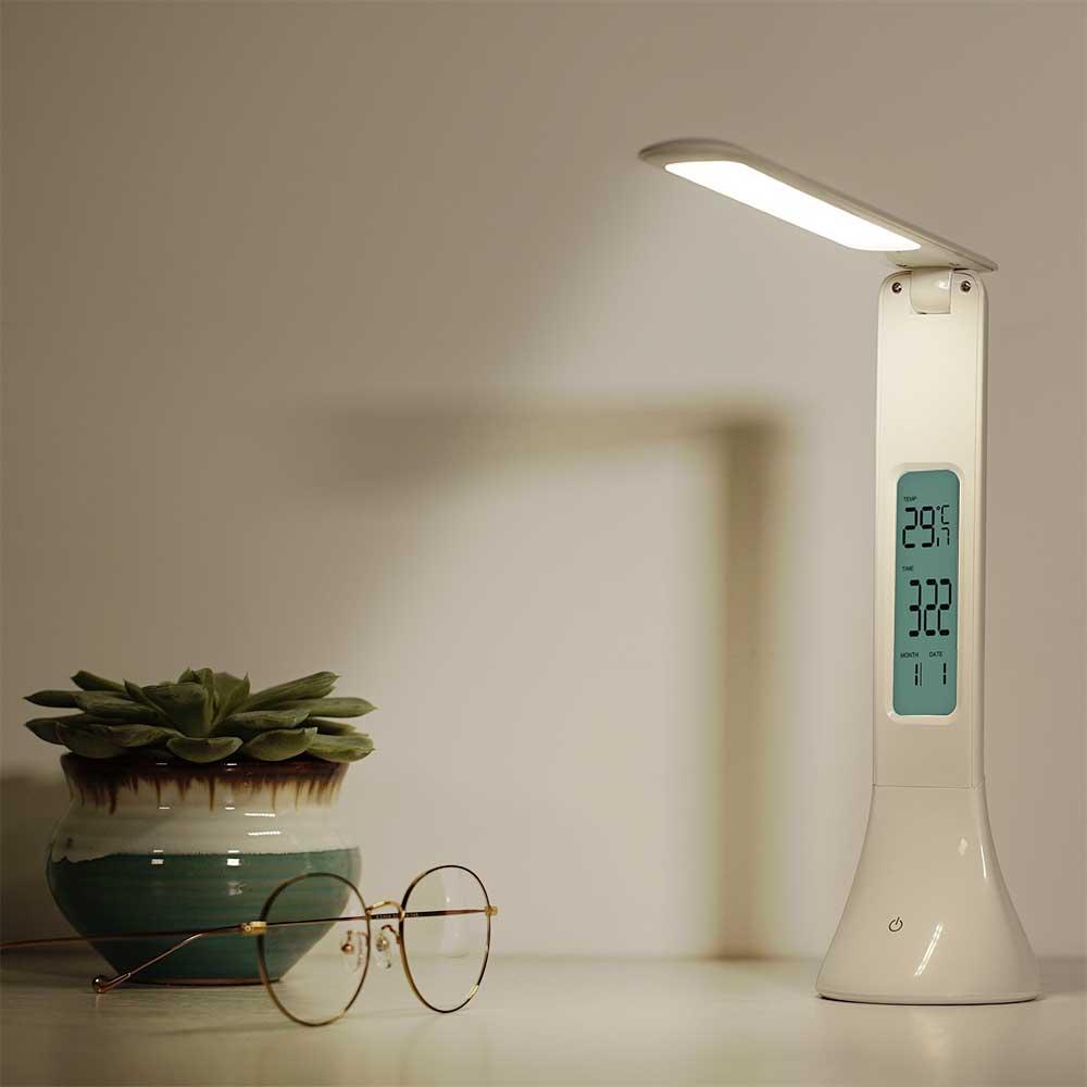 De Livre Dimmable Réveil Table Température Veilleuse Lampe Pliable Touch Lumière Calendrier À Avec Led edorCBx