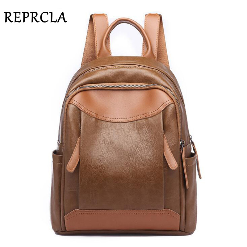 REPRCLA 2018 Fashion Women Backpack High Quality Soft Leather Travel Backpack Female Shoulder Bag PU Students School Bags miyahouse new fashion pu leather backpack women school bags for teenagers girls travel backpack female high quality shoulder bag