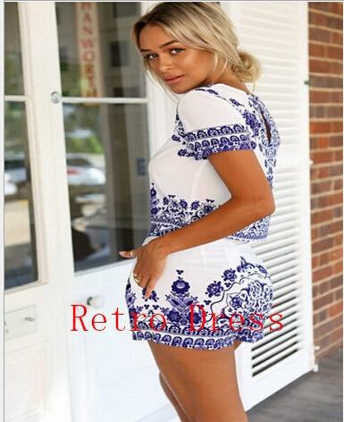 2016 summer Blue Porcelain two piece jumpsuit Women romper short sleeve crop top shorts playsuit overalls