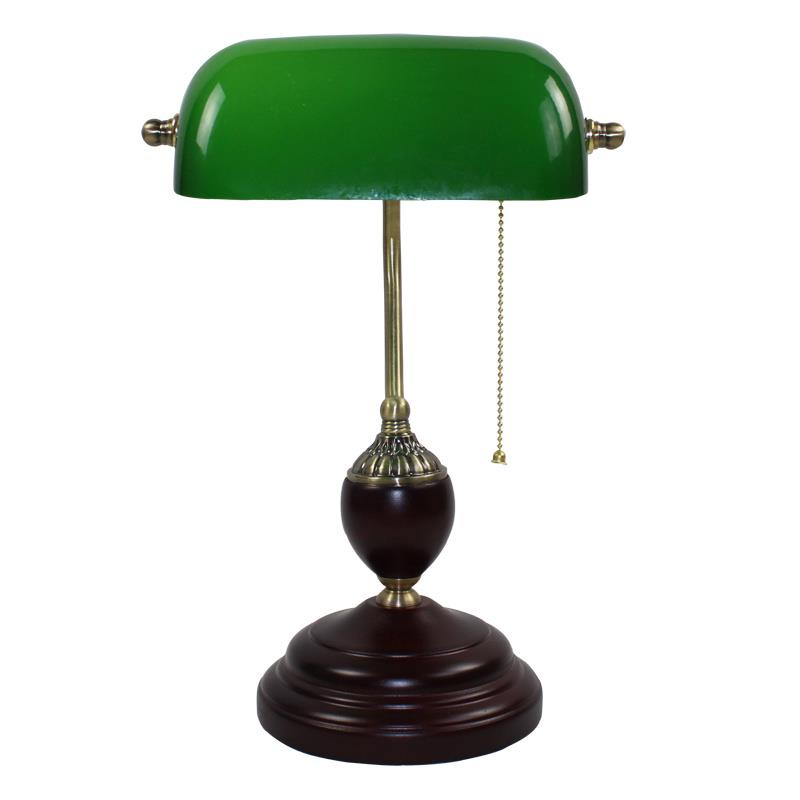 Retro Literary Table Light Emerald Green Gl Bank Office Desk Lamps Red Wood Vintage Reading Night Lighting Student Book Lamp In From Lights