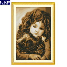 NKF Girl and Cat Cross Stitch Pattern Needlework Religion