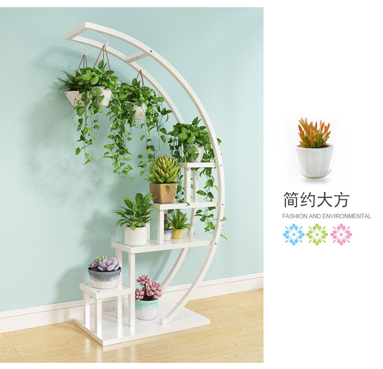 Living room home Half moon type flower stand multi-storey indoor balcony decorative shelf flower pot storage rack mx6241747
