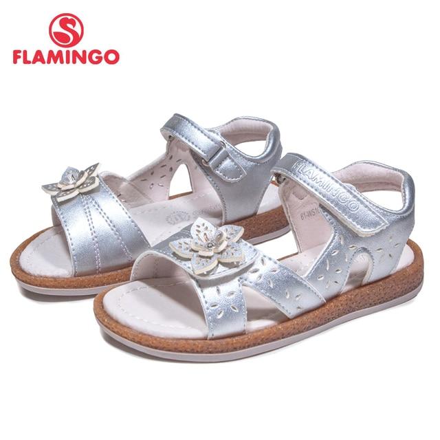 Фламинго 2018 украшенные цветами Удобная Весна и Лето Hook & Loop повседневные сандалии кожаная стелька pricness Уличная обувь 61-ws102