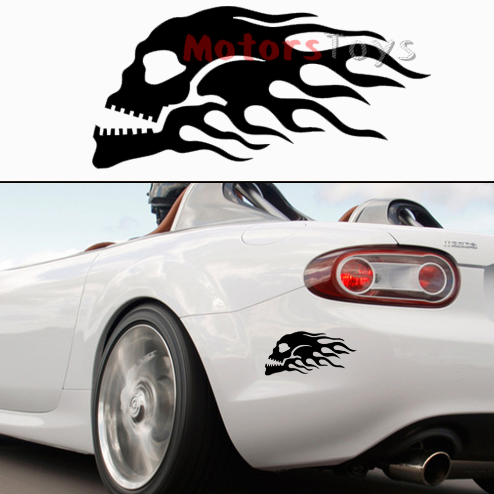 Car sticker design fire - 1x The Jdm Fire Skull Flame Racing Hellaflush Vinyl Motorcycle Car Sticker Decal China